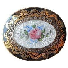Guilloche Enamel Center Pin Vintage Black Gold Tone Frame Pink Rose