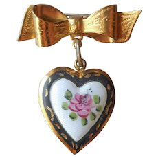 Guilloche Enamel Heart Locket On Bow Pin Vintage Black White Pink