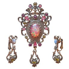 Contessa 1974 Sarah Coventry Faux Opal Pink Green Stones Vintage Pin Earrings Clip On