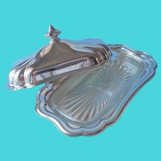 Gorham Heritage Butter Dish Silver Plated Glass Insert Vintage