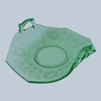 Green Elegant Glass Bon Bon Relish Dish Wheel Cut Flowers