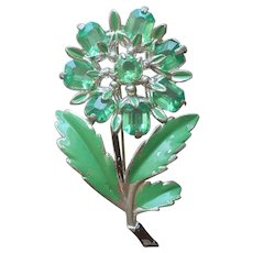 1940s Pin Vintage Green Plastic Stones Painted Silver Tone