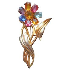 1940s Vermeil Sterling Silver Gold Plated Flower Pin Glass Stones Multi Color