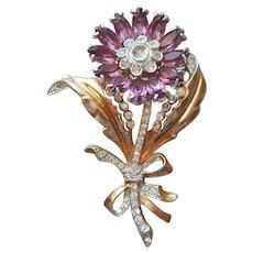 1940s Sterling Silver Vermeil Pin Vintage Purple Glass Stones