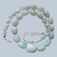 Jay King Aquamarine Nugget Beads Necklace Sterling Silver Pale Blue Stones