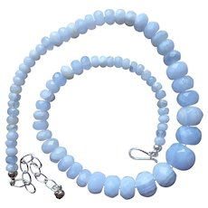 Jay King Blue Lace Agate Necklace Graduated Faceted Beads Sterling Silver