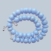 Jay King Blue Lace Agate Necklace Big Chunky Beads Sterling Silver