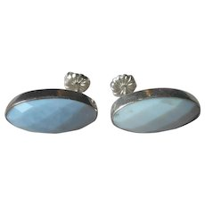 Jay King Dream Blue Opal Earrings Sterling Silver Stud Pierced