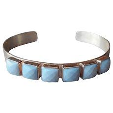 Jay King Dream Blue Opal Cuff Bracelet Sterling Silver 6 Stone