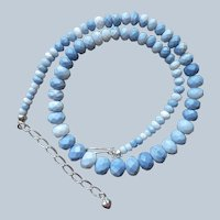 Jay King Dream Blue Opal Faceted Graduated Beads Necklace Sterling Silver