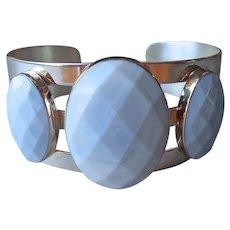Jay King Dream Blue Opal Wide Cuff Bracelet Sterling Silver Large Stones