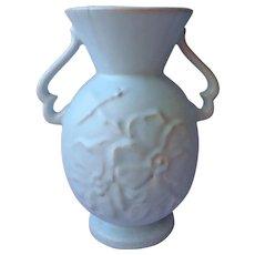 Weller Pottery Vase Solid Sky Blue Wild Rose Matte Glaze Vintage Tiny Bit TLC