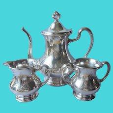 3 Pieces Silver Plated Tea Set Antique Beacon