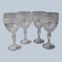 Oneida Southern Garden 4 Wine Glasses Vintage Crystal