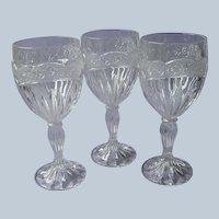 Oneida Southern Garden 3 Water Goblets Glasses Vintage Crystal