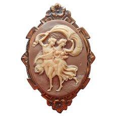 Vintage Plastic Cameo Large Stamped Brass Frame