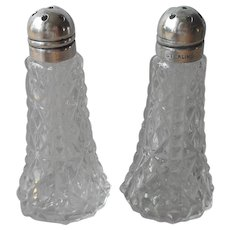 Sterling Silver Tops Pressed Glass Shakers Small Salt Pepper