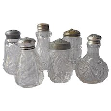 EAPG Shakers 6 Antique Pressed Glass All With Lids