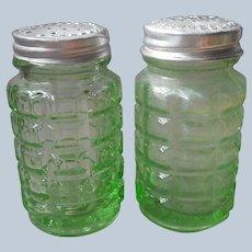 Hazel Atlas Depression Green Glass Waffle Salt Pepper Shakers Vintage