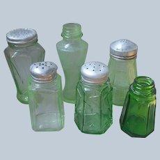 6 Green Depression Glass Single Salt Pepper Shakers Vintage