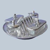 Hammered Aluminum Lazy Susan Toast Rack 2 Butter Dishes Jam Pots Vintage Set