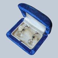 1920s Art Deco Earrings Crystal Drop Black Vintage Screw Back