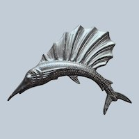 1940s Plastic Swordfish Pin Vintage Silvery Black Gray