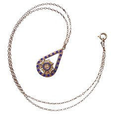 VFW Auxiliary Gold Filled Enamel Necklace Vintage Drop On Chain