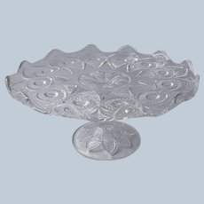 EAPG Cake Stand Antique Bull's Eye and Fan 1905 US Glass Pressed Glass