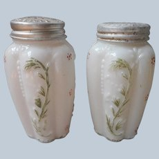 EAPG Northwood Paneled Spring Salt and Pepper Shakers Glass Antique