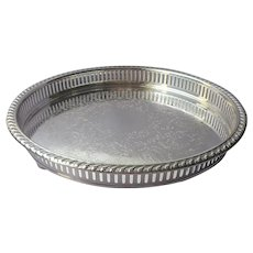 Blackinton Gallery Rim Silver Plated Smaller Round Tray Vintage