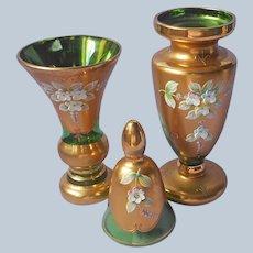 Set Czech Bohemian Glass 2 Vase Bell Green Gold Applied Flowers Vintage