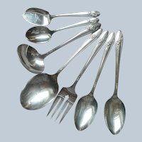 Queen Bess 1946 7 Serving Pieces Vintage Silver Plated Spoon Fork Ladle Etc