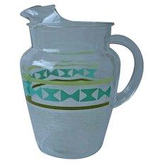 Mid Century Lemonade Iced Tea Pitcher Glass Vintage Turquoise Green Stripes White