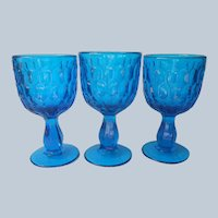Fenton Thumbprint Water Goblets Colonial Blue 3 Vintage