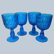 Fenton Thumbprint Water Goblets Colonial Blue 4 Vintage