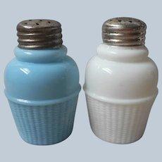 EAPG Shakers Pair Basket Weave Glass Turquoise Blue White Antique Salt Pepper