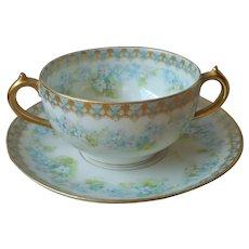 GDA Limoges Bouillon Cup Saucer Blue Forget Me Nots Antique CH Fields
