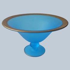 1920s Tiffin Sky Blue Satin Glass Low Comport 15320 Fruit Console Bowl Gold Encrusted Rim