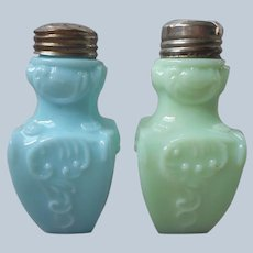 EAPG Shakers Turquoise Blue Green Glass Scroll Narrow Base Antique Salt Pepper