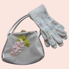 ca 1960 Childs Sunday Church Purse Gloves Knitted  Vintage