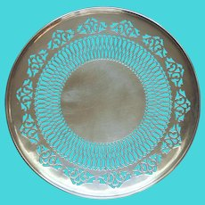 1920s Pierced Serving Plate Footed Silver Plated Vintage Shabby Elegant