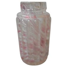 EAPG Northwood Shaker Pink Spatter Ribbed Pillar Antique Glass