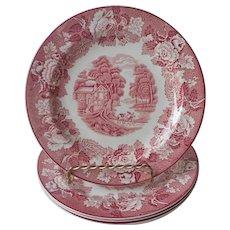 Woods Ware English Scenery Pink Transferware 4 Salad Plates Vintage