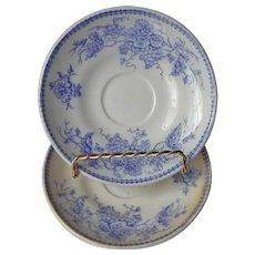 James Edwards Lavender Blue Vine 2 Saucers Transferware English Antique Ironstone Staffordshire