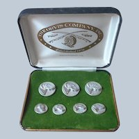 Orvis Blazer Buttons Hunting Dogs Vintage Set Pewter In Box Unused