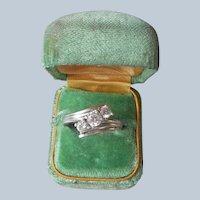 Sterling Silver CZ 3 Stone Wrap Ring Vintage Size 7