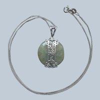 Jade Sterling Silver Drop Necklace Pendant Chain Vintage