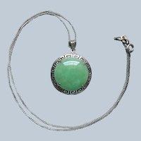 Jade Sterling Silver Drop Necklace Pendant Chain Vintage Greek Key