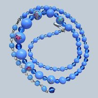 Glass Beads Necklace Vintage Blue With Pink Flowers On Focals